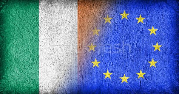 Írország EU zászlók festett repedt beton Stock fotó © michaklootwijk