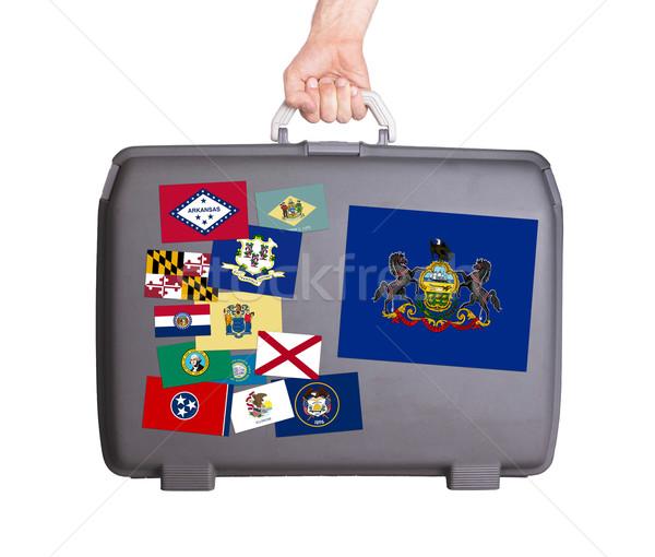 Gebruikt plastic koffer stickers ontwerp Stockfoto © michaklootwijk
