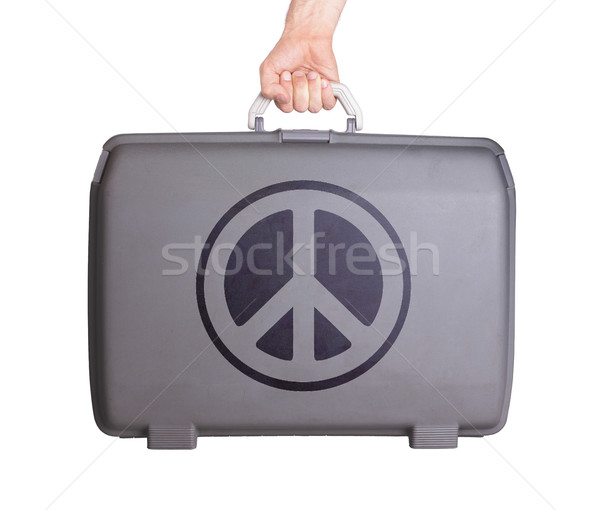 Kullanılmış plastik bavul basılı imzalamak Stok fotoğraf © michaklootwijk