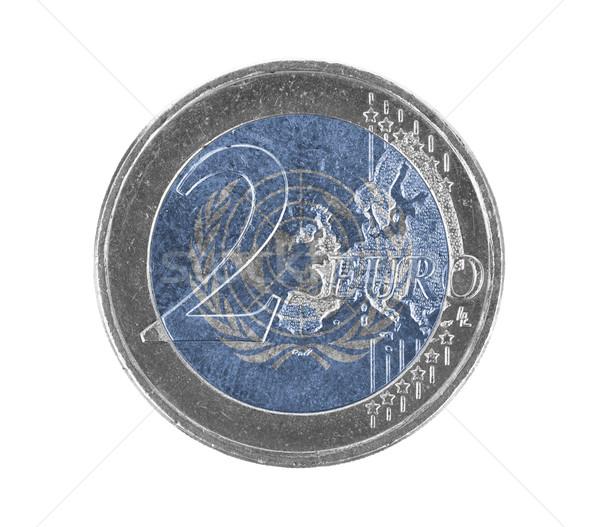 Euro moneta isolato bianco bandiera sfondo Foto d'archivio © michaklootwijk