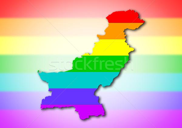 Szivárvány zászló minta Pakisztán térkép homoszexuális Stock fotó © michaklootwijk