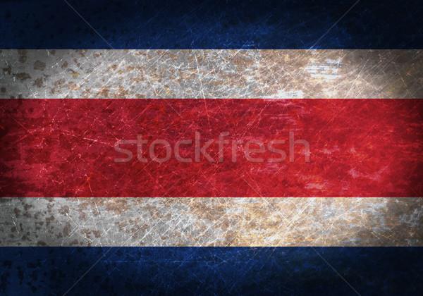 Stok fotoğraf: Eski · paslı · Metal · imzalamak · bayrak · Kostarika