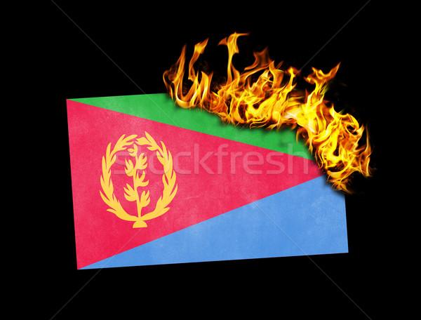 Banderą palenie Erytrea wojny kryzys ognia Zdjęcia stock © michaklootwijk