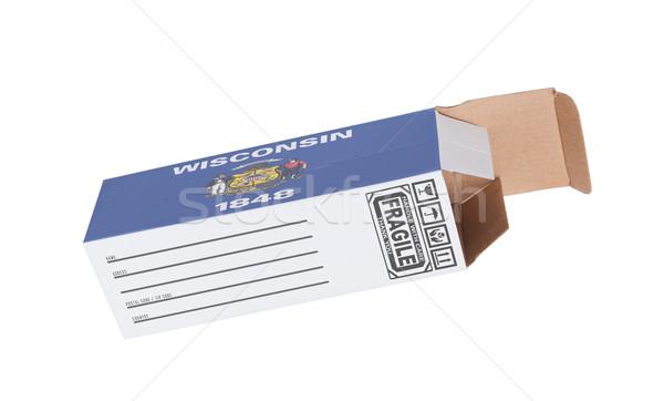 Exporter produit Wisconsin papier boîte Photo stock © michaklootwijk
