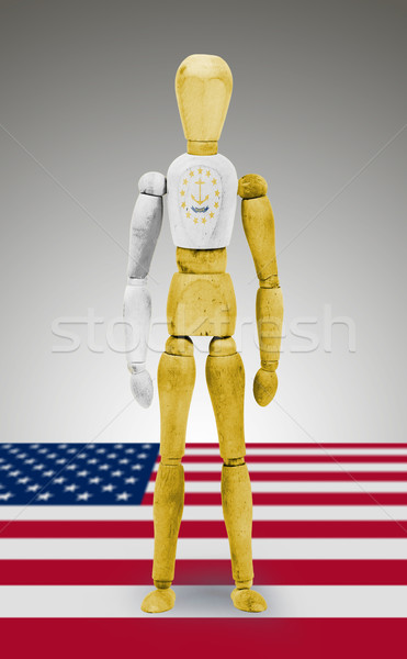 Wood figure mannequin with US state flag bodypaint - Rhode Islan Stock photo © michaklootwijk