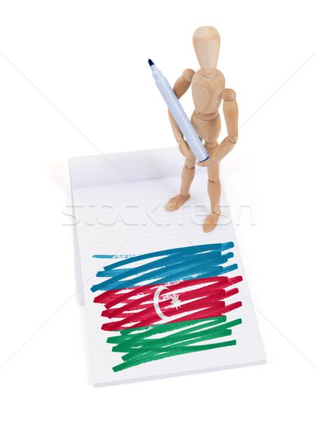 Manekin rysunek Azerbejdżan banderą papieru Zdjęcia stock © michaklootwijk