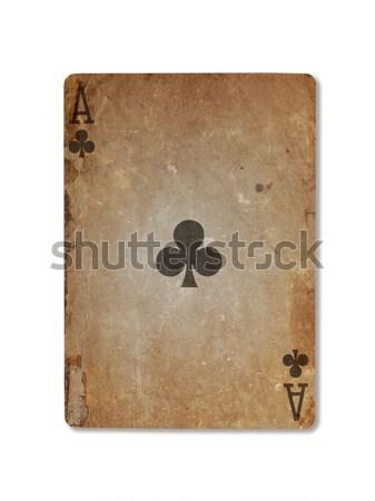 Starych gry karty odizolowany biały papieru Zdjęcia stock © michaklootwijk