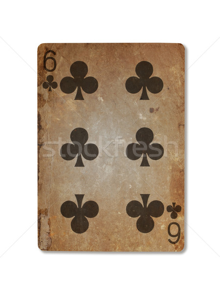 Very old playing card, six of clubs Stock photo © michaklootwijk