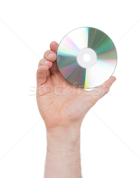 Homem mão disco compacto isolado branco música Foto stock © michaklootwijk
