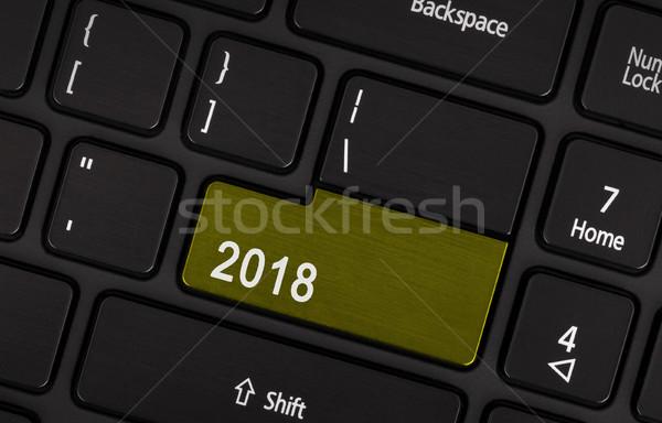 Metin düğme happy new year klavye takvim web Stok fotoğraf © michaklootwijk