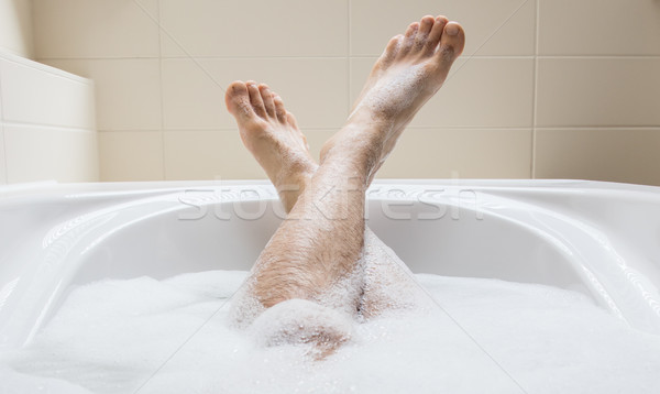 Láb fürdőkád szelektív fókusz lábujjak fényes fehér Stock fotó © michaklootwijk