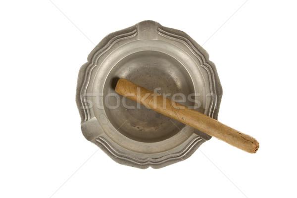 シガー 古い 錫 灰皿 孤立した ストックフォト © michaklootwijk