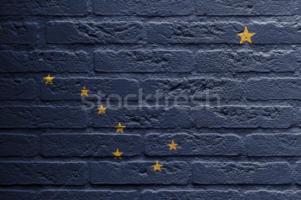кирпичная стена Живопись флаг Аляска изолированный кирпичных Сток-фото © michaklootwijk
