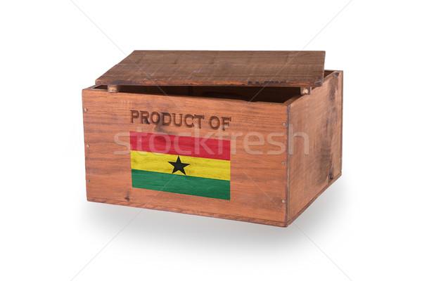 Stock fotó: Fából · készült · láda · izolált · fehér · termék · Ghána