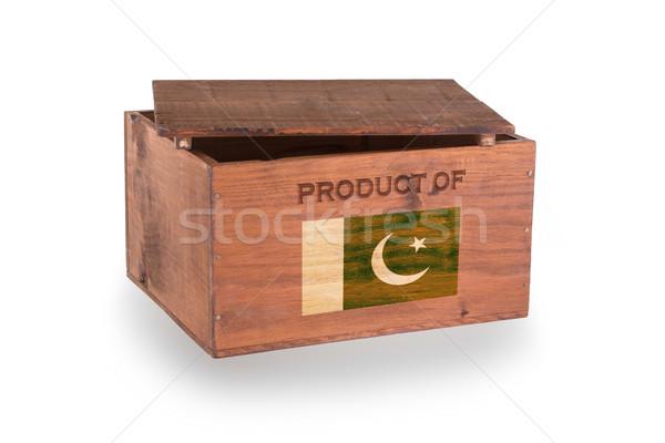 Stock fotó: Fából · készült · láda · izolált · fehér · termék · Pakisztán