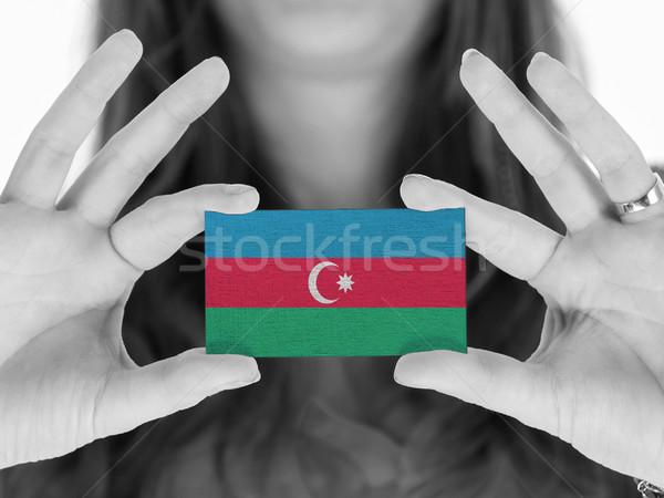Stockfoto: Vrouw · tonen · visitekaartje · vlag · Azerbeidzjan · ruimte