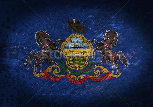 Oude roestige metaal teken vlag zwarte Stockfoto © michaklootwijk