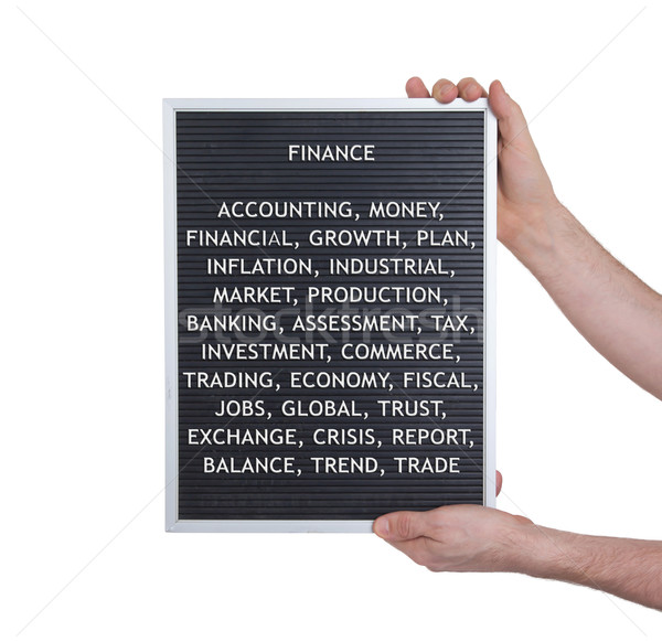 Finance concept in plastic letters on very old menu board Stock photo © michaklootwijk