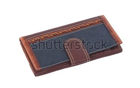 Eski mavi cüzdan yalıtılmış beyaz imzalamak Stok fotoğraf © michaklootwijk