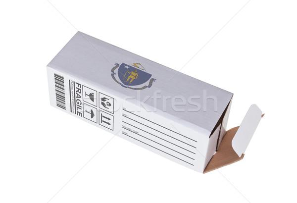 Foto stock: Exportar · produto · Massachusetts · papel · caixa