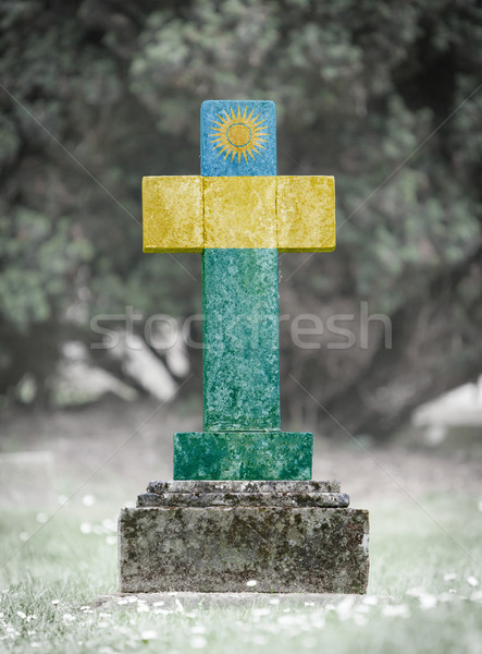 Lápide cemitério Ruanda velho resistiu bandeira Foto stock © michaklootwijk
