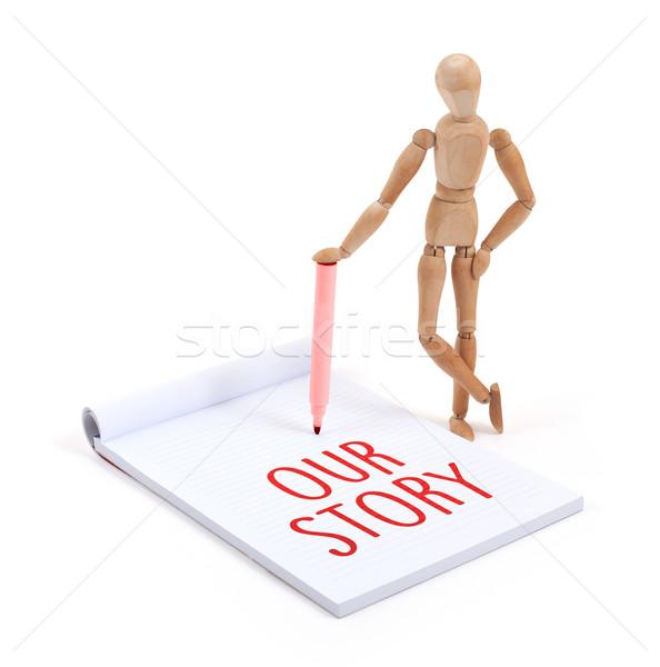 Maniquí escrito historia álbum de recortes oficina Foto stock © michaklootwijk