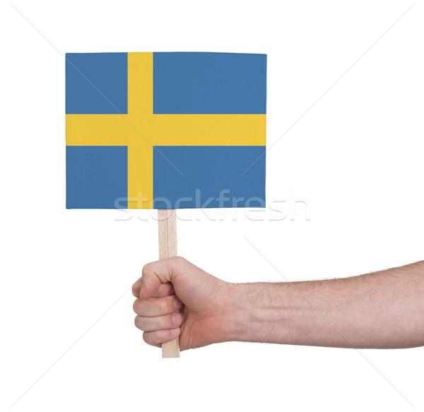 Mão pequeno cartão bandeira Suécia Foto stock © michaklootwijk
