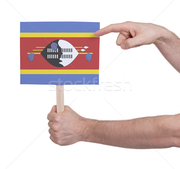 Hand holding small card - Flag of Swaziland Stock photo © michaklootwijk