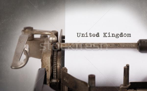 öreg írógép Egyesült Királyság felirat klasszikus vidék Stock fotó © michaklootwijk