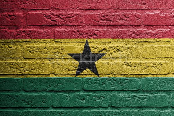 кирпичная стена Живопись флаг Гана изолированный пространстве Сток-фото © michaklootwijk