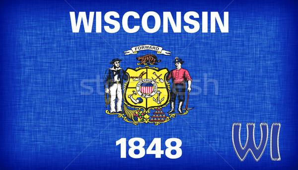 Vászon zászló Wisconsin rövidítés szövet vidék Stock fotó © michaklootwijk