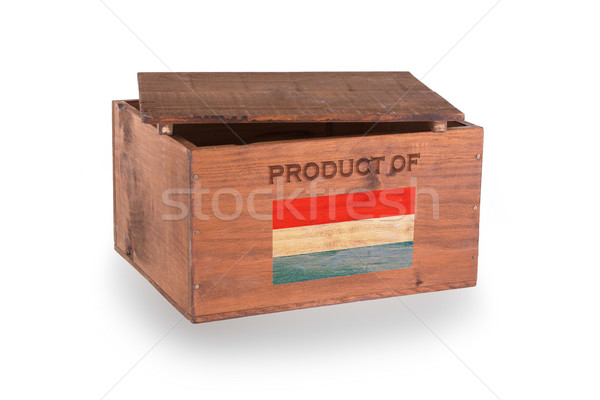 Stock fotó: Fából · készült · láda · izolált · fehér · termék · Luxemburg