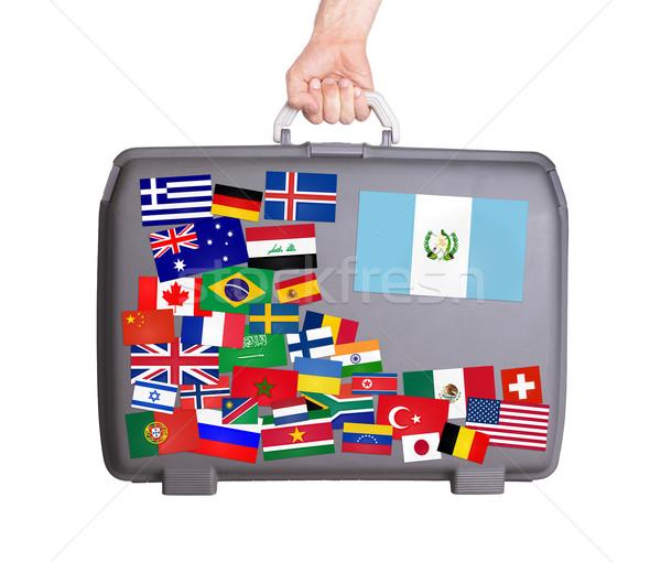 ストックフォト: 中古 · プラスチック · スーツケース · ステッカー · 小