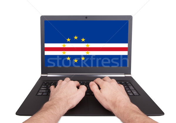 Hands working on laptop, Cape Verde Stock photo © michaklootwijk