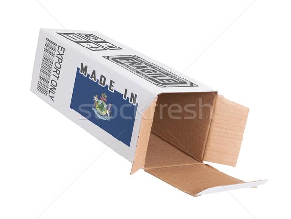 Export termék Maine kinyitott papír doboz Stock fotó © michaklootwijk