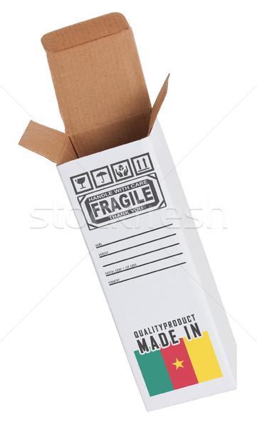 Exportar produto Camarões papel caixa Foto stock © michaklootwijk