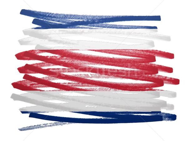Bandera ilustración Costa Rica pluma pintura signo Foto stock © michaklootwijk