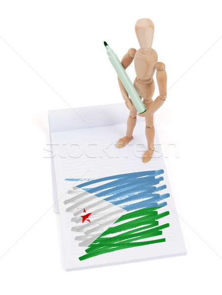Wooden mannequin made a drawing - Djibouti Stock photo © michaklootwijk