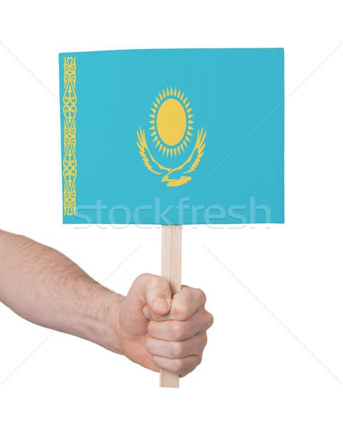 Mão pequeno cartão bandeira Cazaquistão Foto stock © michaklootwijk