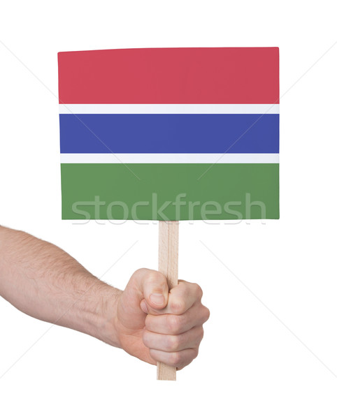 Hand holding small card - Flag of Gambia Stock photo © michaklootwijk