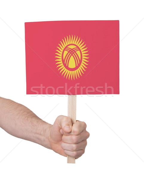 El küçük kart bayrak Kırgızistan Stok fotoğraf © michaklootwijk