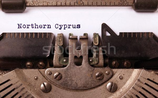 Oude schrijfmachine noordelijk Cyprus opschrift land Stockfoto © michaklootwijk