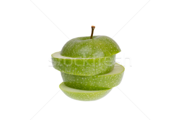 Stok fotoğraf: Yeşil · elma · yalıtılmış · beyaz · gıda