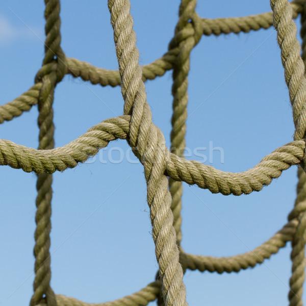 Stok fotoğraf: Halat · net · kullanılmış · çocuklar · tırmanma · mavi · gökyüzü