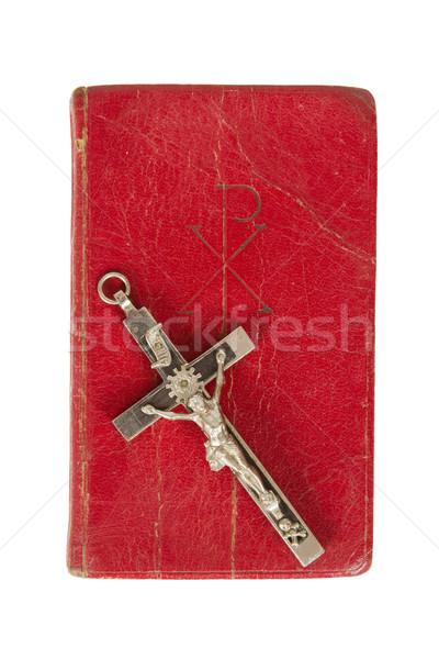 öreg antik Biblia kereszt fehér izolált Stock fotó © michaklootwijk