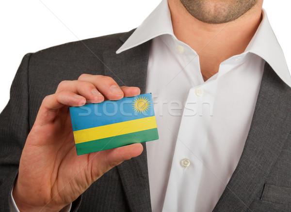 бизнесмен визитной карточкой Руанда флаг работник Сток-фото © michaklootwijk