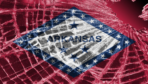 Cacos de vidro gelo bandeira Arkansas isolado vidro Foto stock © michaklootwijk