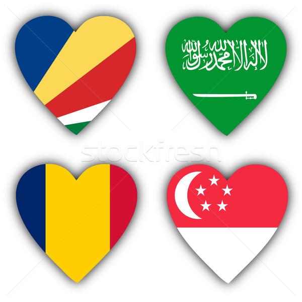Banderas forma corazón diferente países amor Foto stock © michaklootwijk