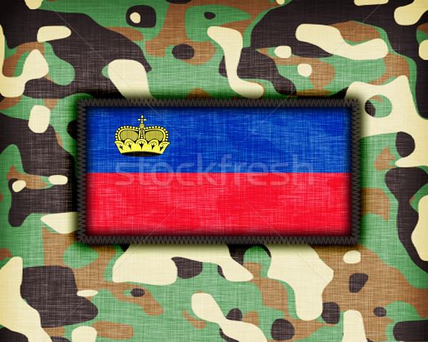 Kamuflaż uniform Liechtenstein banderą tekstury streszczenie Zdjęcia stock © michaklootwijk