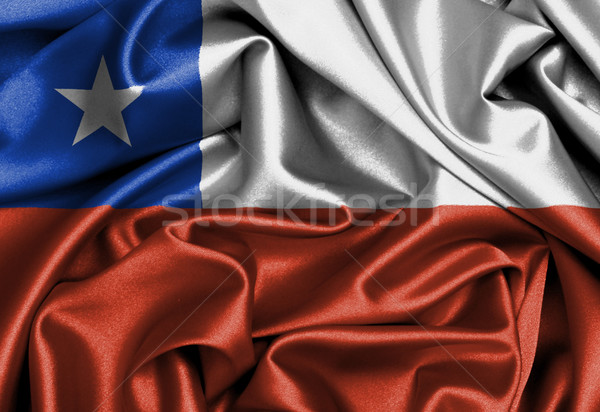 Cetim bandeira tridimensional tornar Chile textura Foto stock © michaklootwijk